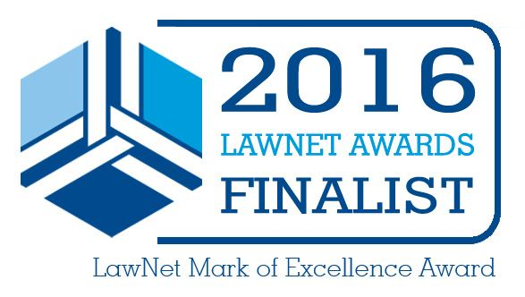 2016 LawNet Awards Finalist: LawNet Mark of Excellence Award associated with Hart Brown, Surrey and London legal specialists