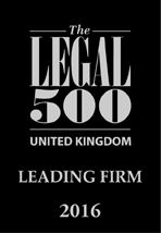 Legal 500 2016 associated with Hart Brown, Surrey and London legal specialists