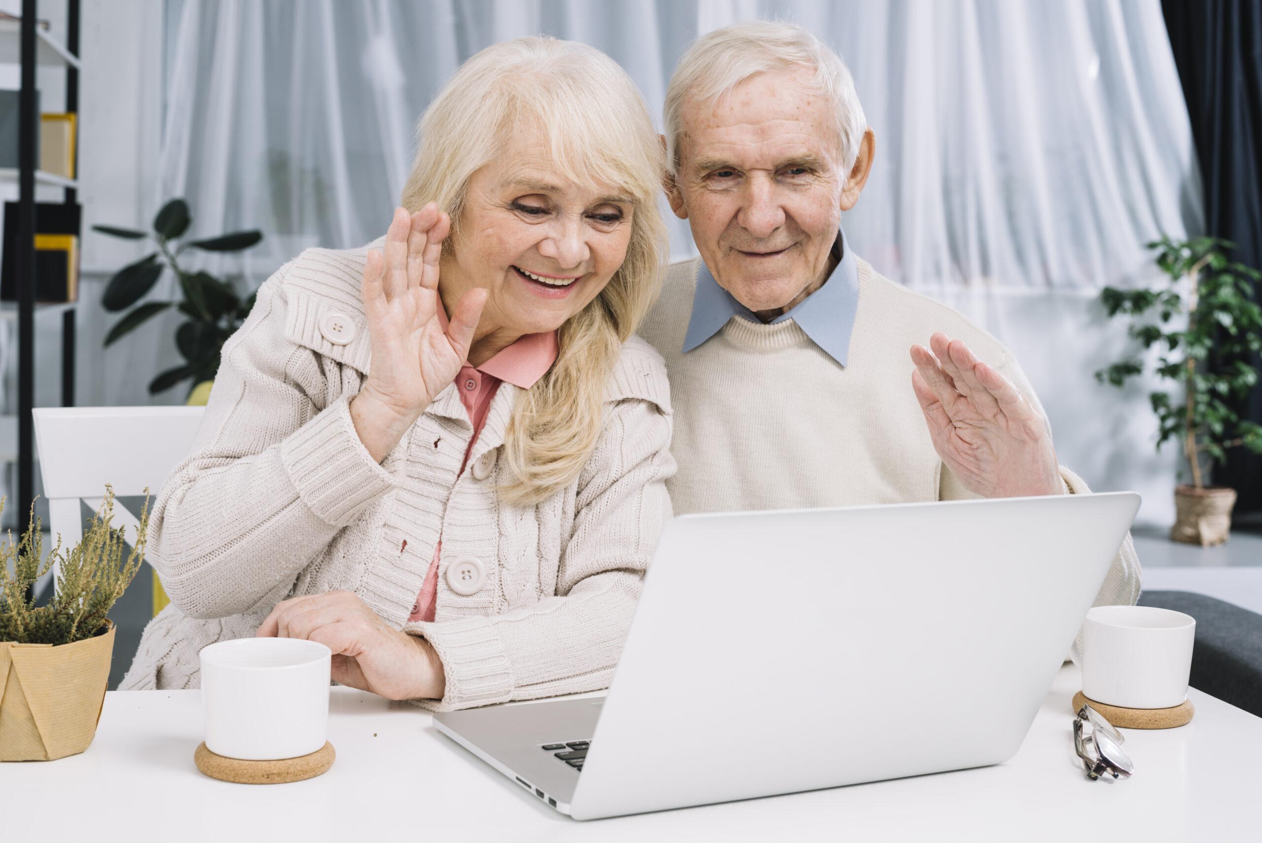 senior couple doing-video call